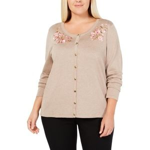 Karen Scott Flower Embroidered Applique Cardigan